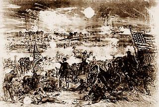 Garnett's Brigade hits Arnold's Battery A